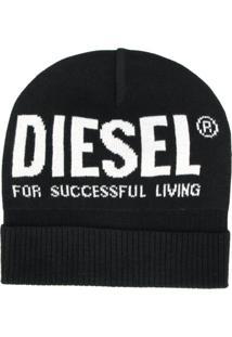 Diesel Gorro Com Logo Contrastante - Preto
