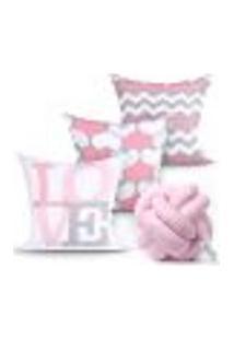 Jogo Capa Almofada Love Rosa Decorativas Kit 3 Capas 45Cm X 45Cm + Almofada Nó Escandinavo