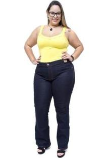 Calça Jeans Feminina Credencial Plus Size Flare Juscineide - Feminino-Azul