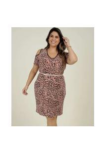 Vestido Plus Size Feminino Estampado Open Shoulder
