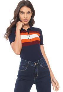 ... Camisa Polo Calvin Klein Jeans Listrada Azul Laranja 4da1c0779e963
