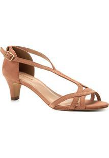 Sandália Couro Shoestock Salto Baixo Nobuck Feminina - Feminino-Nude