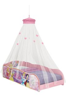 Cama Princesas Disney Plus C/Dorsel De Teto Rosa Pura Magia