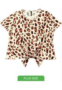 Blusa Com Estampa Animal Print Bege