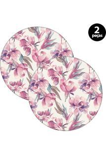 Capa Para Sousplat Mdecore Floral Rosa 2Pçs