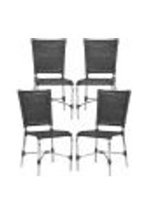 Cadeiras 4Un Para Area Varanda Fibra Sintetica Sala Cozinha Jardim Sacada Romenia - Preto
