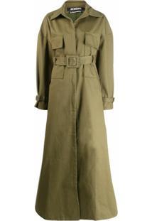 Jacquemus Trench Coat De Algodão Com Cinto - Verde