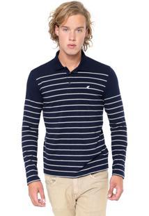 Camisa Polo Malwee Reta Listrada Azul-Marinho/Cinza