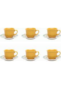 Conjunto 6 Xícaras De Chá Com Pires 200Ml Oxford Floreal Solar