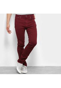 Calça Jeans Slim Calvin Klein Color Five Pockets Masculina - Masculino-Bordô