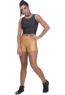 Shorts 3D Poliamida Uv Protection Miss Blessed Dourado