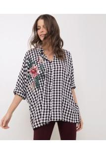Camisa Xadrez Vichy Com Bordado Floral