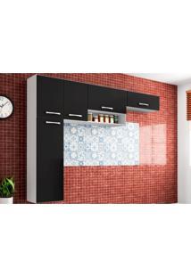 Cozinha Compacta Suspensa Anita 05 Portas Preto - Poquema
