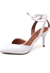 Sapato Ellas Online Scarpin Amarraã§Ã£O Branco - Branco - Feminino - Dafiti