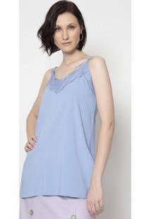 Blusa Com Renda- Azul Claro- Linho Finolinho Fino