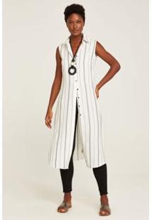 Camisa Regata Rubinella Alongada Única Feminina - Feminino-Off White+Preto