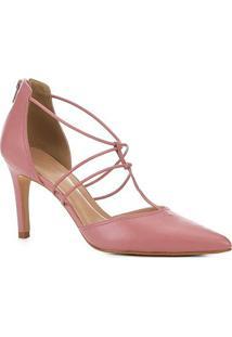 Scarpin Couro Shoestock Salto Alto Tiras - Feminino-Rosa