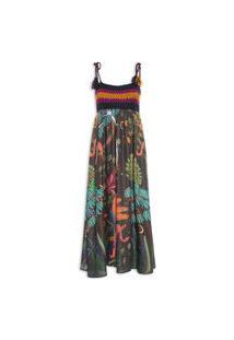 Vestido Crochê Floresta Surreal - Preto