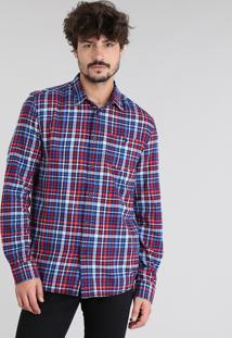 Camisa Masculina Em Flanela Estampada Xadrez Com Bolso Manga Longa Azul Marinho