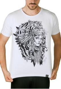 Camiseta Artseries Índia Tigre Branco