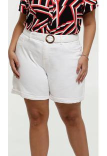 Short Feminino Sarja Bolsos Cinto Plus Size Marisa