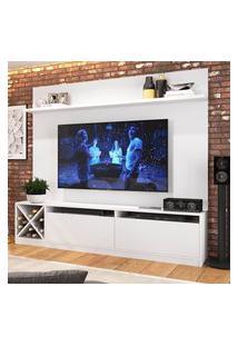 """Rack Com Painel Tv 60"""" Com 2 Portas Branco Lilies Móveis"""