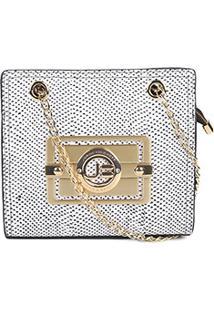 Bolsa Couro Jorge Bischoff Mini Bag Snake Feminina - Feminino-Branco+Preto