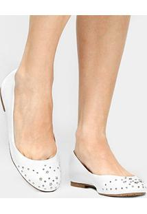 Sapatilha Couro Shoestock Estrelas Feminina - Feminino-Branco