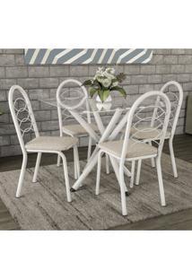 Conjunto De Mesa Tampo Vidro Volga Com 4 Cadeiras Holanda Crome Kappesberg Branco/Linho Marrom