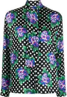 Balenciaga Blusa Com Estampa De Poás E Floral - Preto
