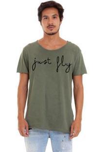 Camiseta Joss Estonada Corte A Fio Just Fly Masculina - Masculino-Verde