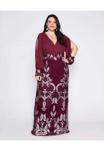 Vestido Almaria Plus Size Pianeta Longo Tule Roxo