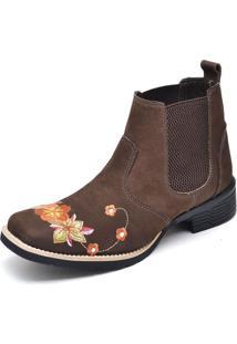 Botina Texana Click Calçados Cano Curto Bico Quadrado Bordado Floral - Kanui