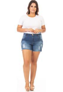Shorts Feminino Jeans Com Lycra E Puídos Plus Size - Tricae