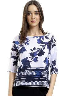 Blusa 101 Resort Wear Tunica Crepe Estampada Folhagem Azul