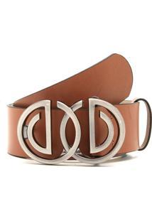 Cinto Couro Dumond Logo Duplo Caramelo