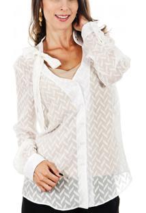 Camisa Cia De Moda Ilhós Silky Jacquard Off White