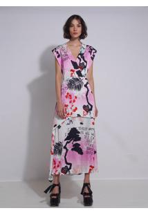 Vestido Le Lis Blanc Carolina Longo Estampado Feminino (Japonismo Tropical, 46)