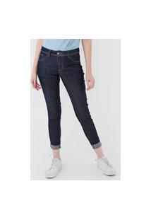 Calça Cropped Jeans Grifle Company Skinny Pespontos Azul