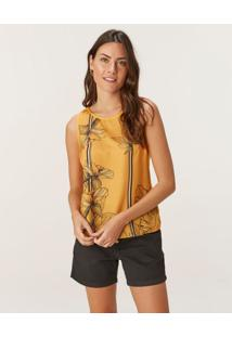 Blusa Floral Em Cetim Malwee Amarelo - Pp