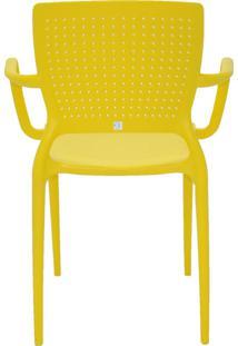 Cadeira Safira Com Braço Em Polipropileno Tramontina Amarelo