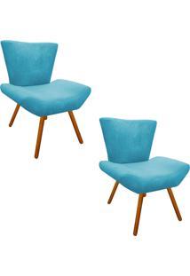 Kit 02 Poltrona Decorativa Aline Suede Azul Turquesa Pés Palito - D'Rossi.