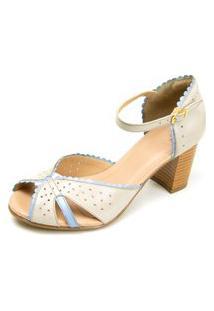 Sandália Gasparini Estilo Peep Toe Branco Azul