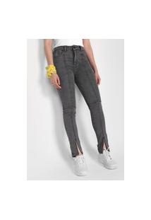 Calça Jeans Forever 21 Skinny Recortes Cinza