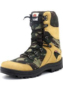 Bota Atron Shoes Militar Camuflada Bege/Verde