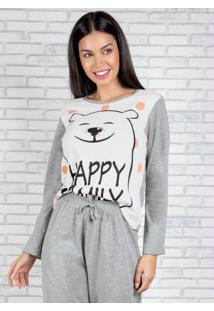 Blusa Manga Longa De Pijama Mescla E Branca