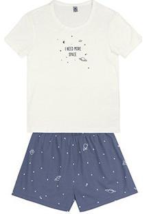 Pijama Hering Curto Feminino - Feminino-Off White