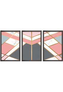 Quadro Oppen House 60X120Cm Abstrato Escandinavo Coloridos Geométrico Triangulos Moldura Preta Sem Vidro Mod: Oh5705