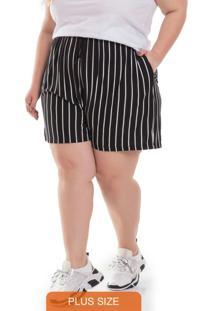 Shorts Feminino Plus Size Listrado Preto