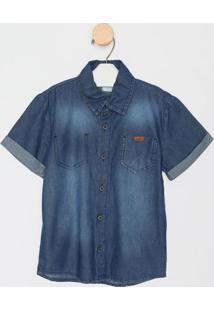 Camisa Jeans Com Bolsos- Azul Escuro- Planeta Panoplaneta Pano E Active
